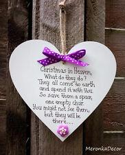 Natale IN PARADISO-Memoriale Ornamento di Natale-cuore fatto a mano-Viola - 6 pollici