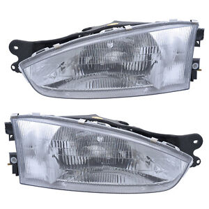 Headlights Front Lamps Pair Set for 97-02 Mitsubishi Mirage Coupe Left & Right