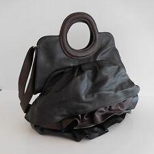 Sac à main fourre-tout simili cuir noir marron vintage XXème