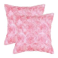 Pack of 2 Pillow Cases Covers for Couch Sofa Home Solid Stereo Roses 20x20 Pink