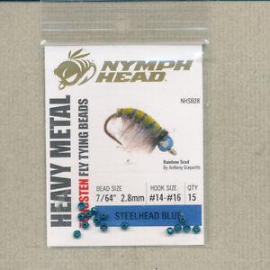 "Nymph Head tungsten beads - steelhead blue - 7/64"" - 2.8mm - #14-16 (15) NHSB28"