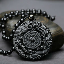 Men's Natural Obsidian Gossip Pendant Round Lucky Black Necklace Jewelry Gifts