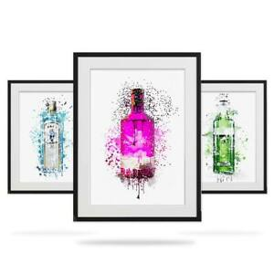 Gin Bottle Watercolour Wall Art Print Set. 3 Modern Splatter Posters Mum Auntie