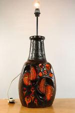 Boden Leuchte Karamik Lampe Innenbeleuchtet Lava Lasur Orange 70er Jahre
