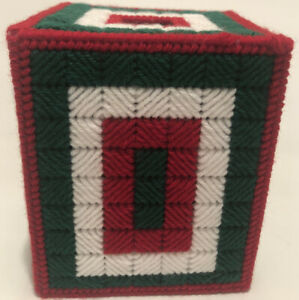 """Handmade Canvas Knit Christmas Decor Tissue Box Cover Red White Green 5.5"""" x 5"""""""