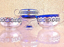 Set of 3 Cobalt  Blue Glass  Bowls  with Pierced Chrome Stands,made in England