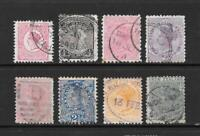 1882 Queen Victoria SG151 onwards Collection of 8 stamps fine used New Zealand