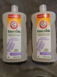 (2) Arm & Hammer Essentials Lavender Vanilla Scent Liquid Hand Soap 32 Oz