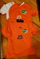 Girls Soccer Jersey Orange 2 Puma Youth Large #7 and #3 Dts Dutch Total Soccer