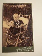 Curslack - kleines Kind - Mädchen - im Kinderwagen mit Spielzeug-Hund / CDV