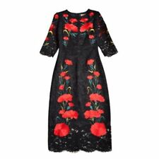 2017 Womens Short Sleeve Embroidered Flowers Grace Mesh Lace Tulle Long Dresses
