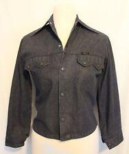 VINTAGE 1970's AMCO ~ Dark Blue Lightweight Denim Jacket w Sharp Collar XS 10