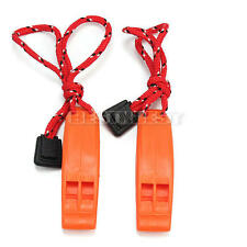 2x Orange Plastic Dual-frequency Outdoor Travel Emergency Survival Clip Whistle