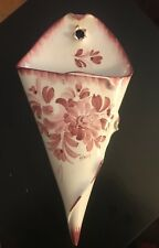 """CERAMIC WALL POCKET HAND MADE IN ITALY Red/Maroon FLOWER LEAVES Approx 15"""""""