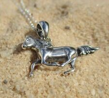 Trotting Horse Pendant with Necklace - 925 Sterling Silver - Equestrian Jewelry