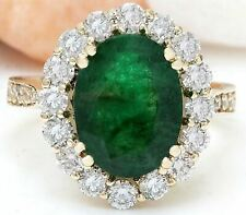 5.30 Carat Natural Emerald 14K Solid Yellow Gold Diamond Ring
