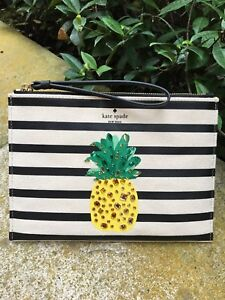 """KATE SPADE NEW YORK """"BY THE POOL"""" STRIPED CANVAS PINEAPPLE ZIP CLUTCH,  NWT"""