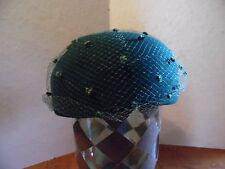 Vintage Green Felt Wool Bollman Ladies Hat With Netting and Bow