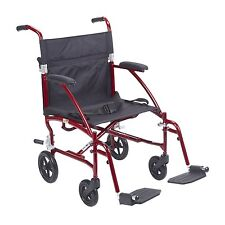 Fly Lite Ultra Lightweight Transport Wheelchair DFL19-RD By Drive Medical New