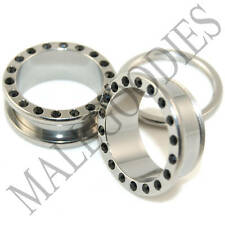"0581 Surgical Steel Screw-on/fit with Black CZ Flesh Tunnels 11/16"" Plugs 18mm"