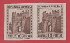 ESPAÑA 1932 EDIFIL675s**  PAREJA SIN DENTAR   PUERTA DEL SOL TOLEDO