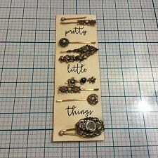 NWT FRANCESCA'S Pretty Little Things Gold Antique Bobby Pin Set Hair Accessories