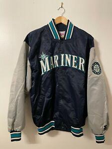 VTG 80s 90s SEATTLE MARINERS MLB STARTER Diamond Collection Satin Jacket L