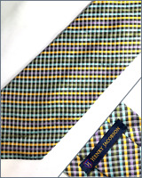 HENRY JACOBSON Hand Made Men's Designer Silk / Cotton Tie Striped -- 58.5 x 3.75