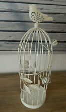 RUSTIC VINTAGE FRENCH STYLE METAL BIRDCAGE CANDLE HOLDER OFF WHITE