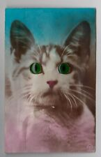 "POSTCARD - novelty ""glass-eye"" & squeaker (not working), cat"