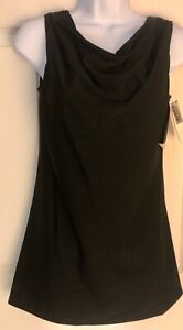 GK ICE FIGURE SKATE LADIES SMALL BLACK CREPE SLVLS COWL NECK A-LINE DRESS Sz AS