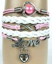 Heart Lock Pendant Love Letters Pink White Infinity Layer Wrap Bracelet