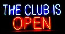 "The Club Is Open Neon Lamp Sign 17""x14"" Bar Light Glass Artwork Decor Windows"