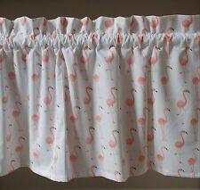 1 Flamingo bird  coral peach window valance curtain topper white spring beach