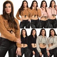 Womens Teddy Bear Half Zip Hoodies Jumper Crop Tops Fluffy Fleece Fur Sweatshirt
