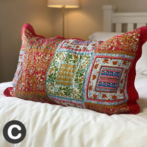 Large Rectangle Cushion Cover Pillowcase Cotton Deep Red Patchwork Check