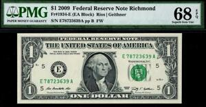 2009 $1 Richmond Federal Reserve Note FRN • PMG 68 EPQ • 1934-E TOP POP 5/0