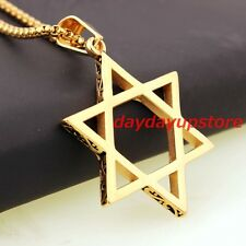 Steel Star of David Pendant Necklace New Simple Women Mens Gold Plated Stainless