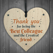 Thank You Wood Heart Plaque Friendship Gift For Colleague Friend New Job Present