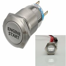 19mm Car White LED Latching ENGINE START Metal Switch Push Button Lighted 12V DC