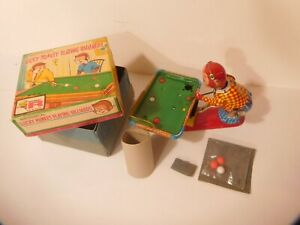 TPS Lucky Monkey Playing Billiards NMIB Tin Wind-up w/ pool balls, packaging BOX