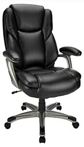 Realspace Cressfield Bonded Leather High-Back Chair, Black/Silver