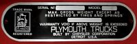 Vintage NORS PLYMOUTH Truck Aluminum Blank Data Plate