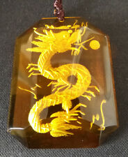 Yellow Crystal Citrine Carved Dragon Pendant Adjustable Necklace
