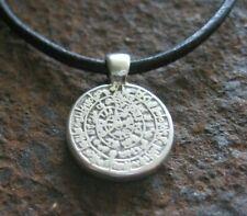 Amulett Kette Herren Halskette Leder schwarz braun Scheibe neu Damen Lederkette