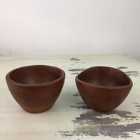 TEAK WOOD SALAD BOWLS - Set Of 2, Vtg Mid-Century Made In Thailand - MUST SEE!