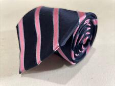 Nautica Men's Navy Blue Pink Stripe Silk Neck Tie $75