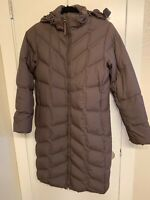 LL BEAN Knee Length Hooded Brown  Womens Down Coat Size Small Warm Lightweight
