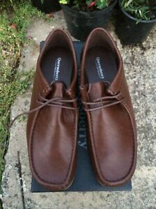 QUEENSBURY LONDON men's brown Wallaby style moccasin shoes, UK 8, NEW