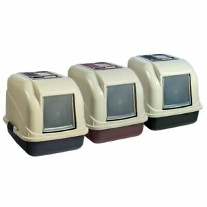 ENCLOSED LARGE HOODED CAT LITTER TRAY BOX PET TOILET WITH DOOR FILTER PORTABLE